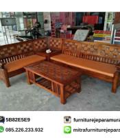 Kursi Tamu Jati Sudut Motif Kawung
